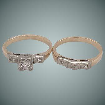 Vintage Diamond Engagement and Wedding Band Set