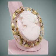 Greek Goddess Diana Cameo Cultured Pearl Brooch