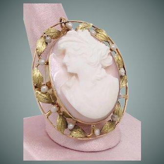 Greek Goddess Diana Cameo Cultured Pearl Brooch
