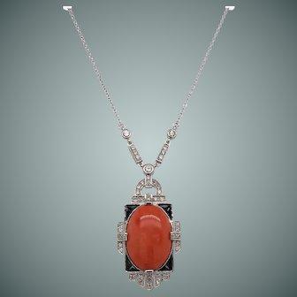 Art Deco Coral and Diamond Pendant Necklace