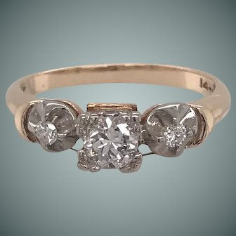 1970's Vintage Three Diamond Engagement Ring