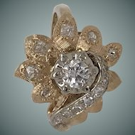 14Kt 1970's-1980's Diamond Flower Dinner Ring