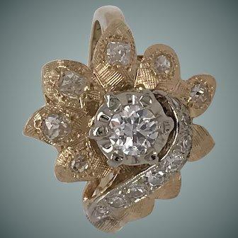 14Kt 1970's-1980's Diamond Flower Dinner Ring