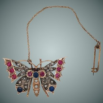 Victorian Era, i.e. 1837-1901, 14kt Ruby, Sapphire, Diamond and cultured Pearl Butterfly Brooch