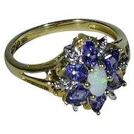 Opal Engagement Ring, Tanzanite Engagement Ring, 10K Yellow Gold