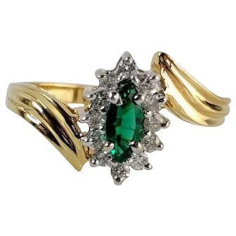 Emerald and Diamond Engagement Ring, 14KP Bypass Setting