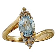 Aquamarine and Diamond Engagement Ring, 14K Yellow Gold