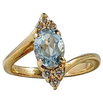 Aquamarine and Diamond Engagement Ring, 14K Yellow Gold