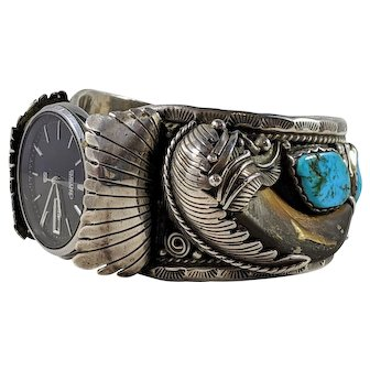 Exquisite Vintage Turquoise Navajo Watch Cuff, Harry Spencer Numbered Jewelry