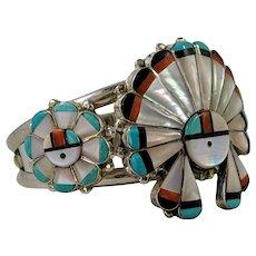 Vintage Zuni Sun Face Cuff Bracelet, Sterling Silver Native American Inlay