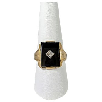 Mens Onyx and Diamond Ring, 10K Yellow Gold Vintage Ring
