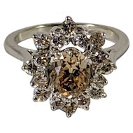 Stunning Diamond Cocktail Ring, Oval Diamond Center Stone