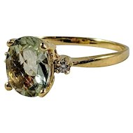 Green Amethyst and Diamond Ring, Engagement Ring, 14K Yellow Gold