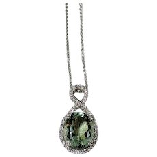 Green Amethyst and Diamond Necklace, 14K White Gold