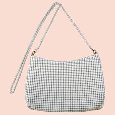 Vintage White Mesh 1970s Handbag, Long Chain Purse, White Evening Bag