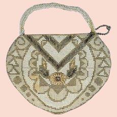 1930s Handbag, Beaded Purse, White Seed Bead Bridal Bag, Wedding Purse