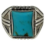 Turquoise JP Sterling Mens Ring, Large Turquoise Ring