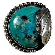 Vintage Turquoise Sterling Ring, Signed RPF, Beaded Edge, Silver Leaf, Southwestern