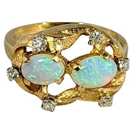 Twin Opal and Diamond Ring