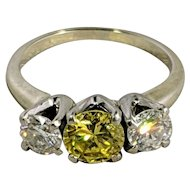 Yellow Diamond Three-Stone Engagement Ring