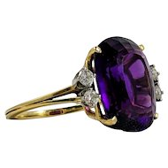 Large 18K Amethyst and Diamond Cocktail Ring