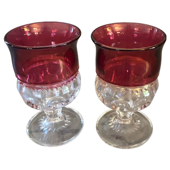Vintage Cranberry Ruby Flash Glass Cordial Glasses. Kings Crown Thumb pattern