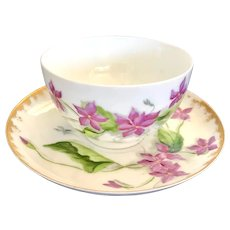 Antique Hand Painted Violet Teacup and Saucer