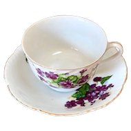 Vintage Japan violet teacup with molded, scalloped gold trim