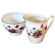 Vintage Duchess Bone China Violet Creamer and Open Sugar Bowl