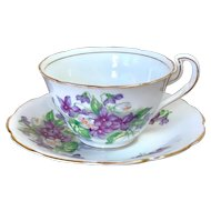 Vintage Spencer Stevenson Bone China Violet Teacup & Saucer