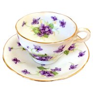 Adderley Lawley bone china violet teacup or demitasse and saucer