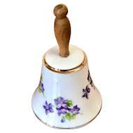 Enesco Bell Japan Violets Floral Purple Porcelain Wood Handle Vintage
