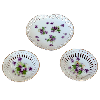 """Norcrest Fine China """"sweet violets"""" heart & dishes"""
