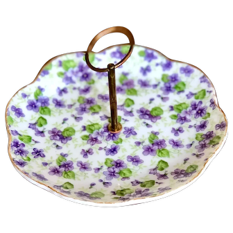 Vintage Lefton China Hand-painted Handled Candy/Nut Dish