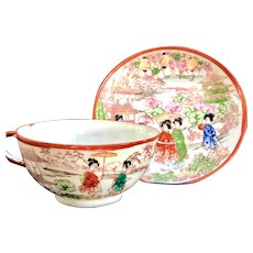 Vintage Japan Geisha Girl Porcelain Cup and Saucer Handpainted
