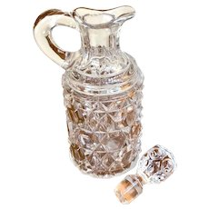 EAPG Cut Glass Cruet Block Pattern with stopper