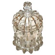 Early American Pattern Glass Lidded Sugar, Bamboo, Notched Column Pattern