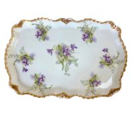 Antique Bawo & Dotter Elite Works Limoges France Violet Platter 1900