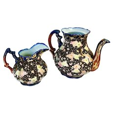Japanese Ornately Decorated Ceramic Teapot and Pitcher