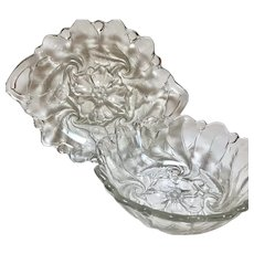 Vintage Molded Floral Clear Glass Serving Dishes