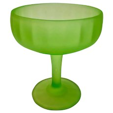 Vintage Green Satin Frosted Uranium Glass Ribbed Compote Candy