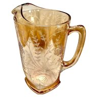 Vintage Jeannette Marigold Iridescent Glass Pitcher in the Louisa or Floragold Pattern