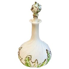 Dithridge & Co. Milk Glass Apothecary Vanity Barber Bottle Decanter