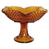 Depression Glass Amber Pedestal Serving Plate Hobnail