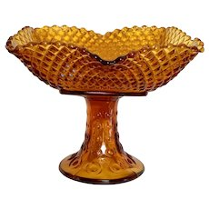 Depression Glass Amber Pedestal Serving Plate Hobnail