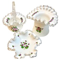 Fenton Violets in the Snow Silver Crest Milk Glass Basket, Vase, Bowl