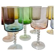 Vintage Multi Colored Cylindrical Wine Glasses with Twisted Stems