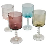 Vintage Multi Colored Cordial Glasses (cylindrical and tulip) with Twisted Stems