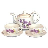 Vintage Japanese China Violet Teapot , 7 Teacups and Saucers