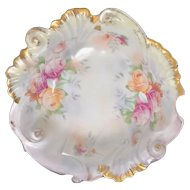 JSV Lustreware Rose Scalloped Molded Serving Bowl